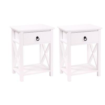 X型带抽屉茶几桌-2个装白色