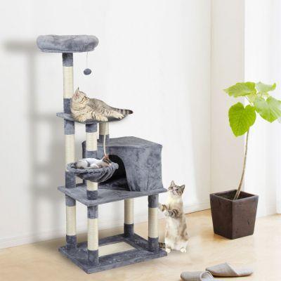 猫树-带五边形猫窝浅灰色