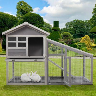 木制兔笼带阳光板--灰色