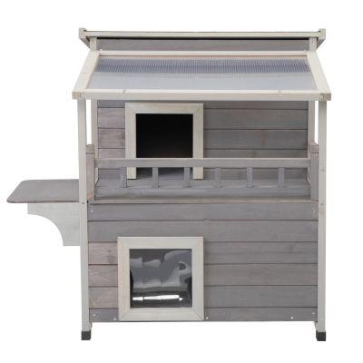 双层猫屋带阳光板-灰色
