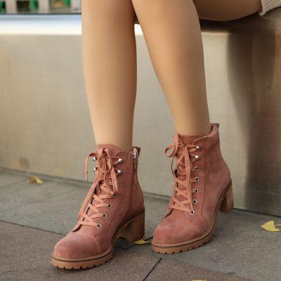 羊反毛真皮短靴-黑色/浅粉色