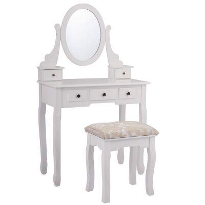 三抽圆镜梳妆台-白色