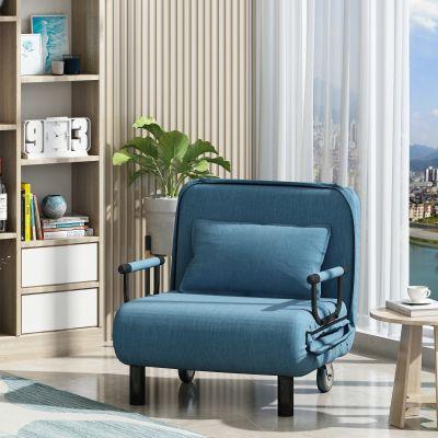 60cm蓝色可折叠沙发床带一枕头