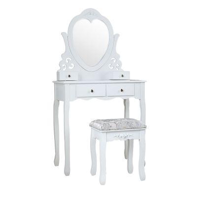 四抽心形镜梳妆台-白色