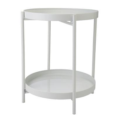 双层金属圆盘茶几桌-白色