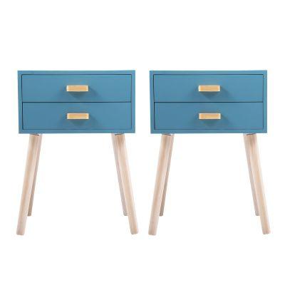 双抽木把手床头柜--蓝色2个装