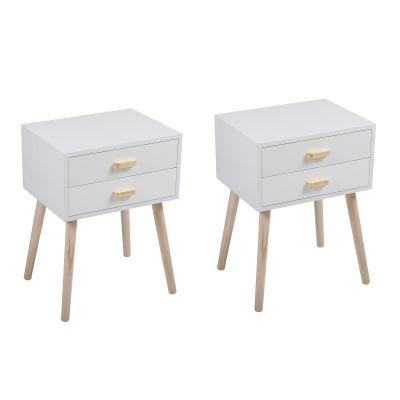 双抽木把手床头柜--白色2个装