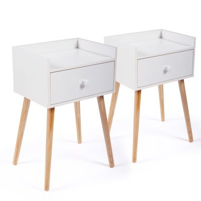 一抽床头柜-白色2个装