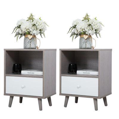 矮脚床头柜-水泥灰2个装