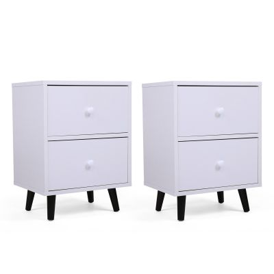 矮脚床头柜-双抽白色2个装
