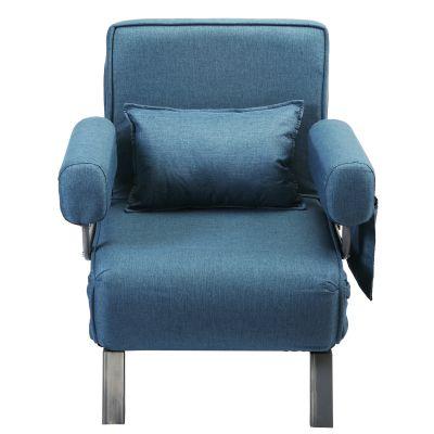 带扶手折叠沙发床-浅蓝色