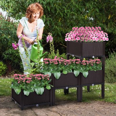 深咖色花园种植器-4个装16脚