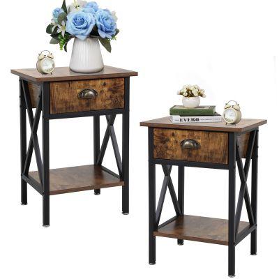 钢木结构床头柜--两个装