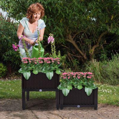 深咖色花园种植器-2个装4脚
