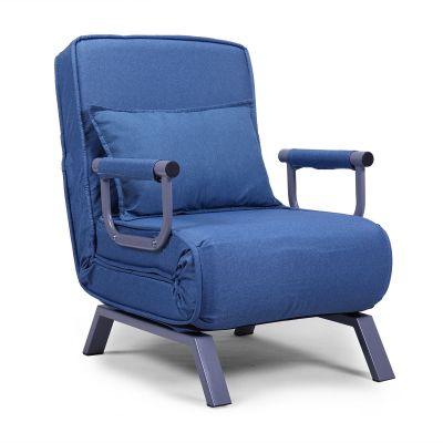 蓝色可折叠沙发床带一枕头