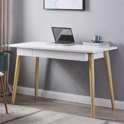 八字腿办公桌-白