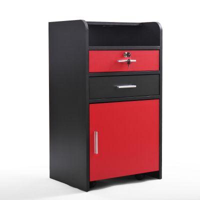 可移动式美容美发抽屉柜-黑+红