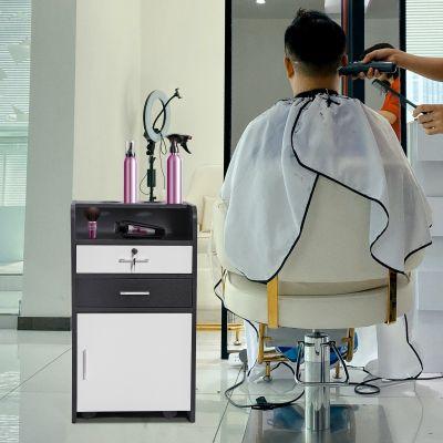 可移动式美容美发抽屉柜-黑+白