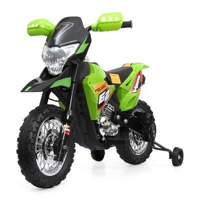 儿童电动摩托绿色--带辅助轮