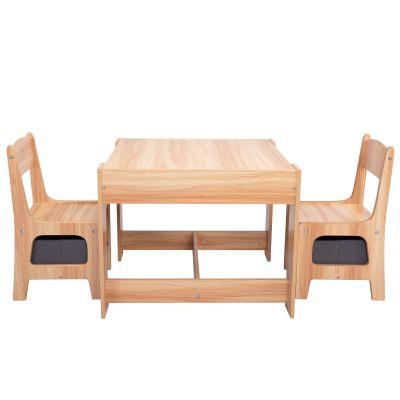 三合一多功能桌椅-木纹色+灰色抽屉
