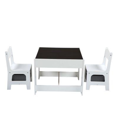 三合一多功能桌椅-白色+灰色
