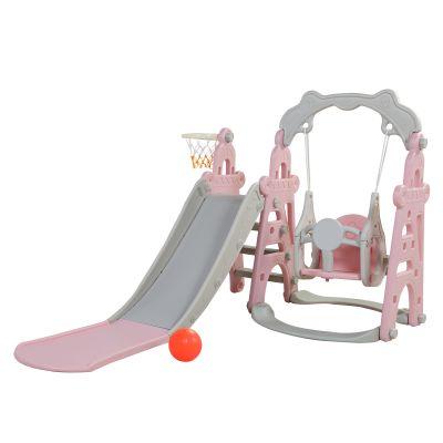 三合一滑滑梯--灰粉色