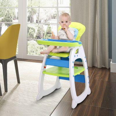 儿童餐椅蓝绿色