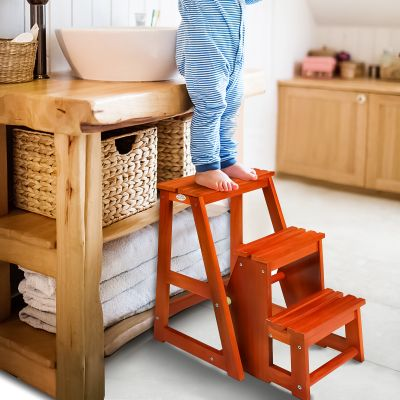 儿童爬凳-坚果棕色(浅核桃色)