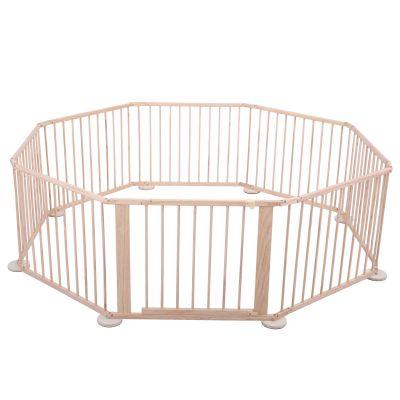 八片原木色儿童围栏