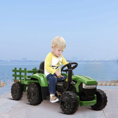 拖拉机童车--带拖斗--墨绿色