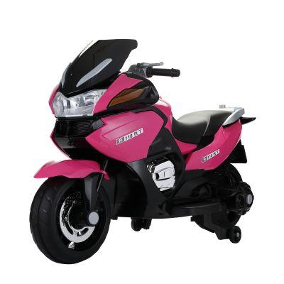 超大号儿童电动摩托车--玫红色