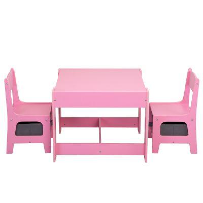 三合一多功能桌椅-粉色+灰色抽屉