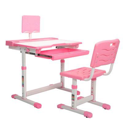 儿童升降学习桌椅套装-粉色