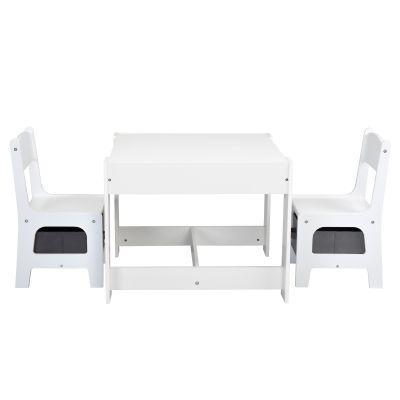 三合一多功能桌椅-白色+灰色抽屉
