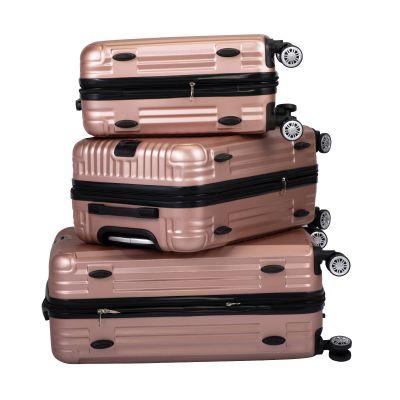 竖条纹行李箱三件套-玫瑰金色